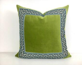 Green Velvet Pillow Cover with Blue Greek Key Trim