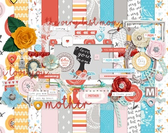 The very best mom digital scrapbooking kit, Mothers day scrapbooking embellishments, Floral digital papers, Abstract digital papers