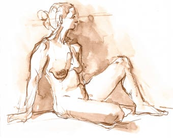 Original Fine Art Nude Drawing, Female Nude Figure Drawing, Ink on Paper, Dessin de Nu, Figurative Art, Pen and Ink Art, Sepia toned Art