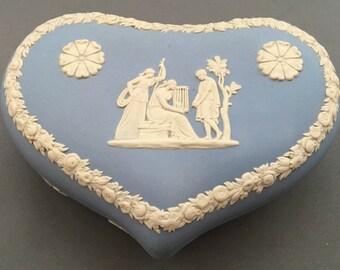 Wedgwood Jasperware Pale Blue Large Heart Shaped Lidded Trinket Box