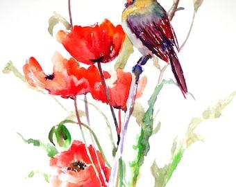 Female Cardinal and Poppies, bird and flowers red  Art, Bird Artwork, Original, watercolor painting, northern cardinal, large watercolor art