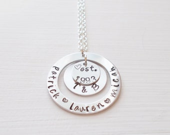 Personalized Hand Stamped Mother's Pendant Necklace Children's Names Family Established Charms Silver Plated Or Sterling Silver Chain