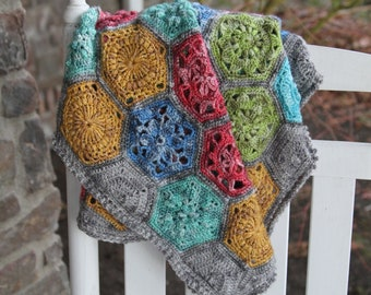 Crochet blanket Pattern/CypressTextiles/Tiny Garden Blanket/modern traditional motif texture circle unique throw tutorial