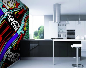 Self-adhesive Wallpaper-Pop Art-Coca Cola-Yellow BUS