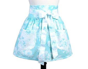 Womens Flirty Retro Half Waist Apron in Obi Design of Very Pretty Soft Teal with White Floral Large Pockets