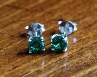 May Emerald Birthstone Earrings- Sterling Silver - Girl Jewelry - Birthday Present