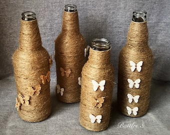 4 * hand crafted twine wrapped bottles - weddings/flowers