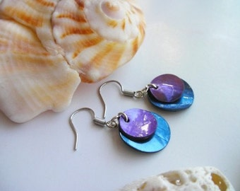 Round Seashell Dangle Earrings - Blue Purple Circle Sea Shell Earrings, Blue Seashell Earrings, Purple Seashell Earrings, Sea Shell Earrings