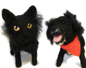 ZWEI individuelle Nadel gefilzt, Hunde oder Katzen - Nadel gefilzt Originalskulptur Soft - klein - King Charles Spaniel - Cocker spaniel