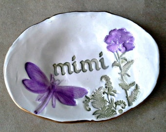 Ceramic MIMI Trinket Dish Ring Dish  Ring Bowl  edged in gold Mothers Day Gift
