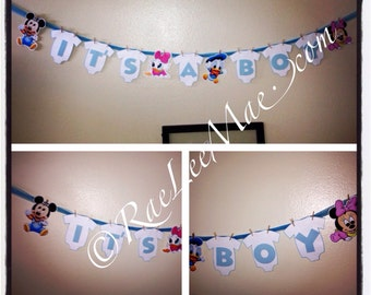 Disney Babies onesie baby shower banner or birthday banner, its a boy/girl banner, Mickey Mouse, Minnie Mouse, Donald,Daisy,pluto,goofy