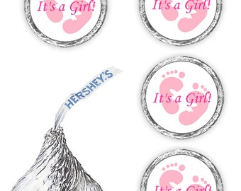 108 its a girl pink footprints baby shower party kisses favors  (candy not included)