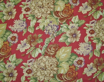 Home Decorator Fabric Dark Red Floral/ Upholstery Fabric By Portfolio  Textiles, Inc./