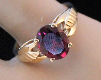 Vintage 14K Yellow Gold 2.1 Carat Oval Cut Rhodolite Garnet Ring 3 Grams Size 5.5 January Birthstone Mother's Day