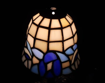 Beautiful Blue and White Stained Glass Lampshade