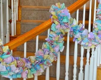 7 foot Pastel Spring Garland No Ornaments,Fabric Garland,Spring Decoration,Easter Decoration,Spring Garland,Party Decoration,Rag Garland