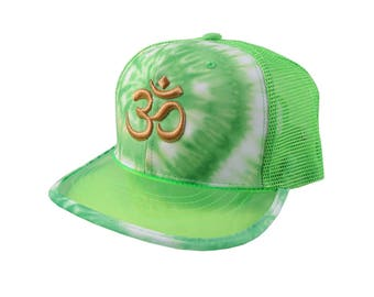 OM Spiritual Symbol Yoga Lifestyle 3D Puff Golden Embroidery Adjustable High Profile Structured Lime Green Tie Dye Trucker Mesh Fashion Cap