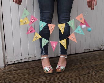 Wooden Happy Birthday Bunting with pompoms