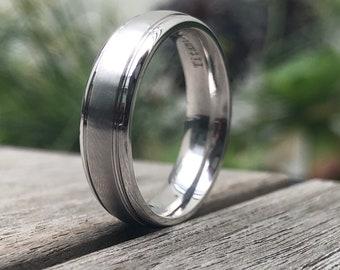Titanium Mens Band - Wedding band - 6mm Wedding Band - White Titanium - Comfort-fit Men's Band - Size 10