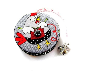 Pocket Measuring Tape Knitting Chickens Retractable Tape Measure