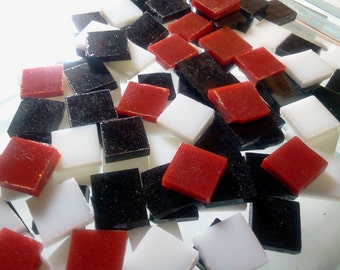 RED, BLACK & WHITE Mix Opal Stained Glass Tile Mosaic A19-45