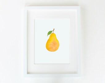 Pear Artwork. Watercolor. Art Print. Wall art.