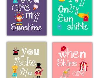 Wall Art for Kids // Circus Art for kids // Circus Nursery Decor // Circus Art Prints // You Are My Sunshine Nursery Art//4-8x10 PRINTS ONLY