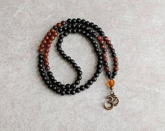 Ohm Mala Necklace with Obsidian and Ebony Wood - 6mm Prayer Beads - Item # 723