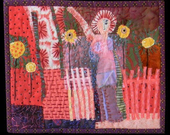 """Textile wall hanging. Quilt. Fabric collage. textile collage.Fiber art wall hanging.   Waving From the Garden. 8""""x10"""""""