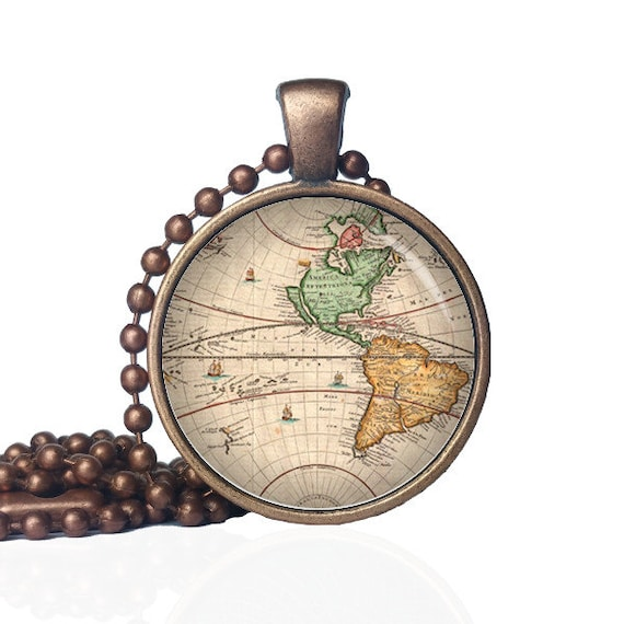 Old map necklace world map pendant world map necklace gumiabroncs Gallery