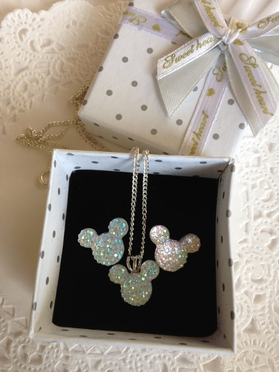 Disney Inspired Flower Girl-Hidden Mickey Necklace and Earrings Set-Clear AB Acrylic or Choose Colors