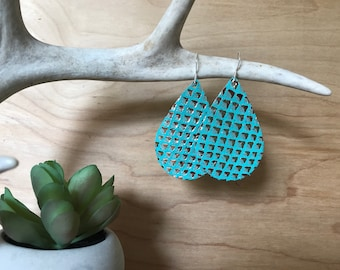 Aqua and Gold Leather Teardrop Earrings