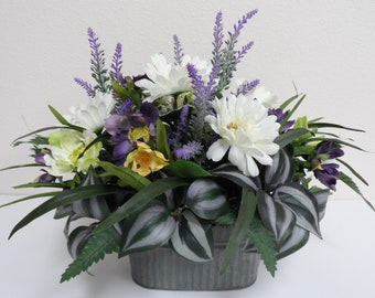 FREE SHIPPING - Centerpiece Arrangement, Table Arrangement, Dinning Room Table Centerpiece, Flower Arrangement with Daisies, Lavender Decor