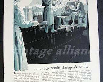 Surgery scene Operating Room Doctors Nurse hospital black white 1954 Print Ad