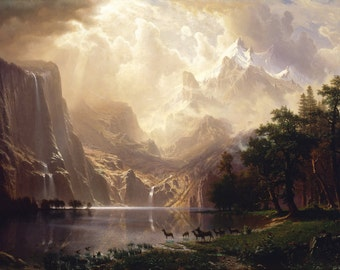 Among the Sierra Nevada Mountains by Albert Bierstadt Home Decor Wall Decor Giclee Art Print Poster A4 A3 A2 Large Print FLAT RATE SHIPPING