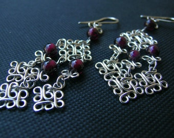 Silver chandelier earrings, sterling silver and garnet dangle earrings, handcrafted silver filgree earrings, gypsy earring, boho earrings