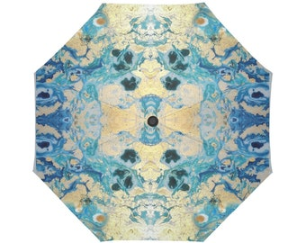 3D effect-hand painted marbling- Large and automatic foldable umbrella- Rain and sun- customizable-Hand painted design