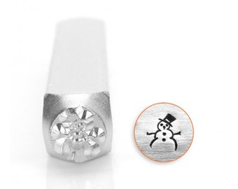 Snow Man Metal Design Stamp 6mm - Impress Art - Winter and Holiday Design - Snowman - Frosty