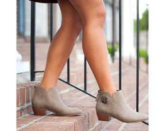 Taupe Hudson Short Boots - Personalized Monogram Ankle Boots for Fall