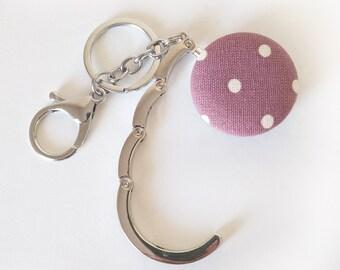 Handbag Hook Key Ring and Bag Charm, Purse Hook Hanger Key chain, Bag Hook, Folding Purse Hanger in Pink Polka Dot