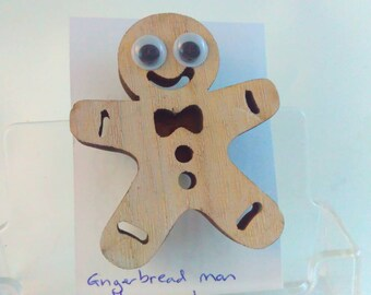 handmade, googly eyes, pin, person, person pin, man, gingerbread man, gingerbread man pin, wooden brooch, wooden pin, wood pin, wood brooch,