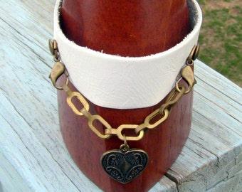 Gift For Her, Bracelet, Leather Bracelet, White Cuff Bracelet, White Leather Bracelet, Cuff Bracelet