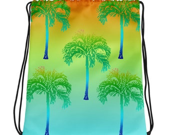 Tropical Palm Tree Beach Surf Drawstring bag