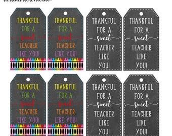 Thankful for a Tecaher Tags 2 sets- digital- you print your own- INSTANT DOWNLOAD