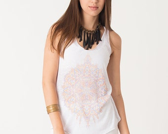 Screen Printed Burnout Tank Women Tank Top White Festival Top Uv Glow Visionary Psychedelic Clothing Psy Wear