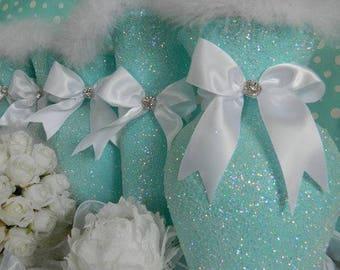 Tiffany blue wedding etsy wedding centerpiece turquoise wedding glitter vase 1 aqua wedding decorations junglespirit Images