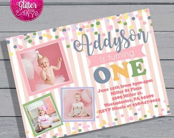 First Birthday Invite, First Birthday Invitation, Girl First Birthday Invite, Girl First Birthday Invitation, First Birthday Invite Picture