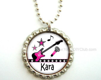 Rock Star Party Favors, Rock Star Birthday Party Favor - Personalized necklace, bottle cap necklace - Personalized gift for kids