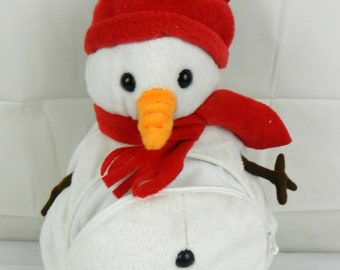 Stuffy Snowman stuffed animal with front zipper pocket