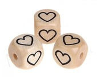 Wooden beads heart design on 4 sides (sold separately)